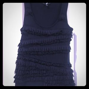 Navy tank top with ruffles on the front